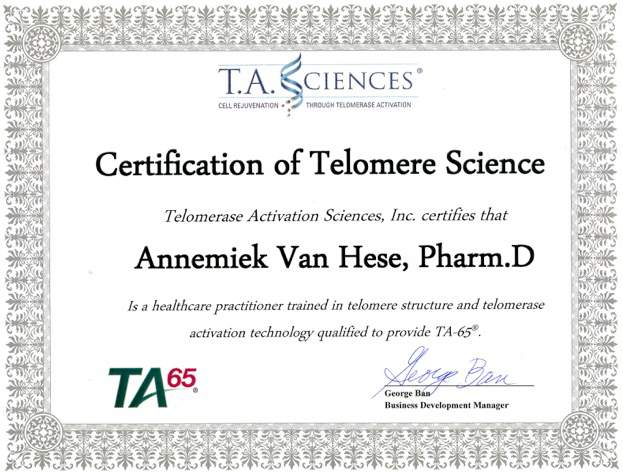 Annemiek Van Hese is certified by T.A. Sciences, a market leader in anti-aging products.